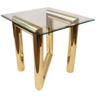 1970s Mid Century Modern Tubular Brass Zig Zag Sculpture End Table