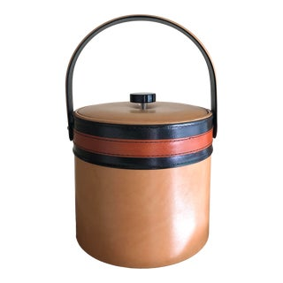 Mid-Century Modern Faux Caramel-Color Leather Ice Bucket by Georges Briard For Sale