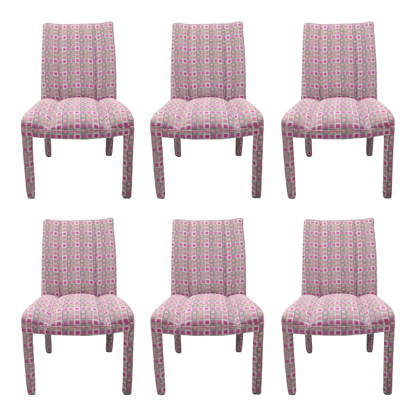 Upholstered Parsons-Style Hollywood Regency Pink & Silver