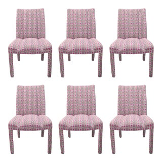 Upholstered Parsons-Style Hollywood Regency Pink & Silver Dining Chairs - Set of 6