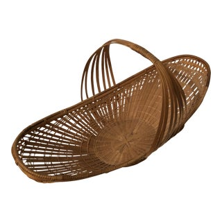 "Boho Chic Decorative Rattan Wicker Gathering Basket - 22"" For Sale"