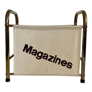 1970's Canvas and Metal Typography Magazine Holder For Sale