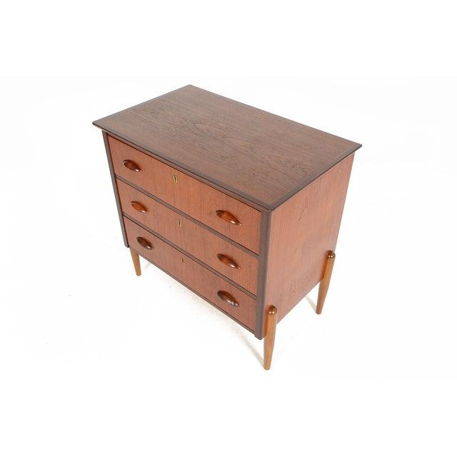 Danish Modern Three-Drawer Teak and Oak Chest - Image 3 of 9
