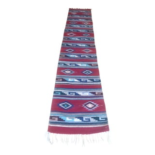 """Mid-Century Mexican Zapotec Flatweave Runner Rug - 1'11""""x10'8"""" For Sale"""