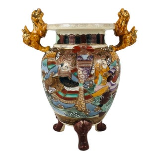 "Japanese Satsuma Moriage Temple Incense Censer Jar Shishi Foo Lions Tripod Legs 10.25"" Ca: 1930s For Sale"