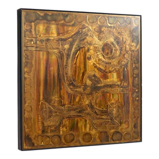 Acid-Etched and Oxidized Brass Panel by Bernhard Rohne, 1970s For Sale