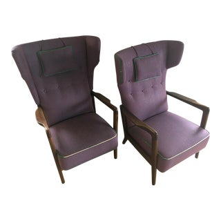 Vintage Mid-Century Wing Back Style His and Hers Chairs- a Pair For Sale