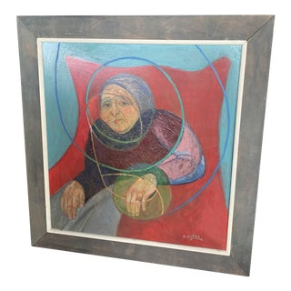 1964 Italian Modernist Portrait Painting, Framed For Sale