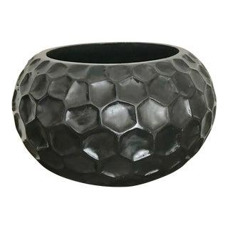 Early 21st Century Black Ceramic Honeycomb Vase