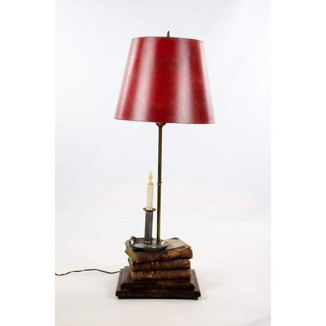 Leather-Bound Book Stack and Pewter Candle Holder Table Lamp For Sale - Image 13 of 13