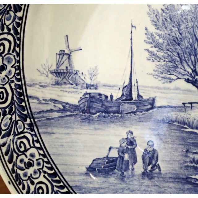 Mid-Century Dutch Hand Painted Royal Sphinx Maastricht Delft Platter For Sale - Image 4 of 11