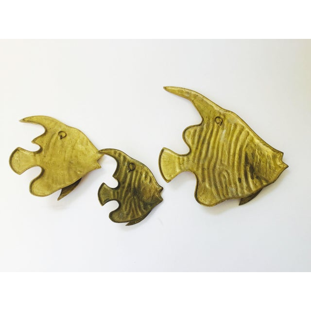 Vintage Brass Angel Fish Wall Hangings - Set of 3 For Sale In San Francisco - Image 6 of 6