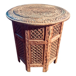 20th Century Moroccan Heavily Carved Folding Table For Sale
