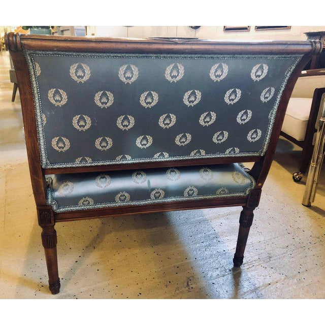 Fine Louis XVI Style Chaise Longue in Celeste Blue Upholstery For Sale - Image 11 of 13