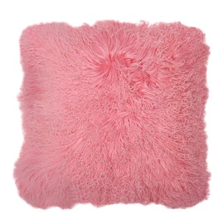 """Aelfie Pink Mongolian Fur Pillow 18"""" X 18"""""""