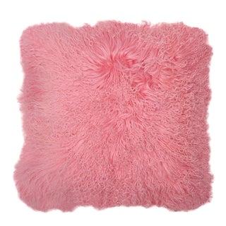 "Aelfie Pink Mongolian Fur Pillow 18"" X 18"" For Sale"