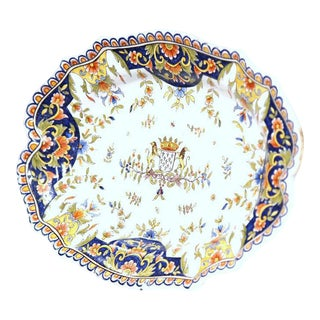 19th Century French Hand-Painted Faience Decorative Dish From Rouen Normandy For Sale