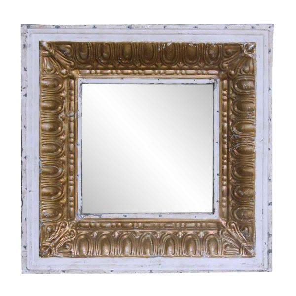 White & Gold Tin Mirror For Sale