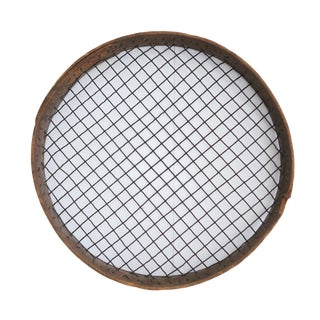 Antique Primitive Extra Large Round Wood and Metal Potato Farming Sieve Sifter For Sale