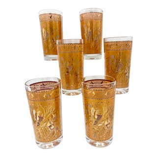 Mid-Century Asian Orange Pheasant Highball Glasses Set of 6 For Sale