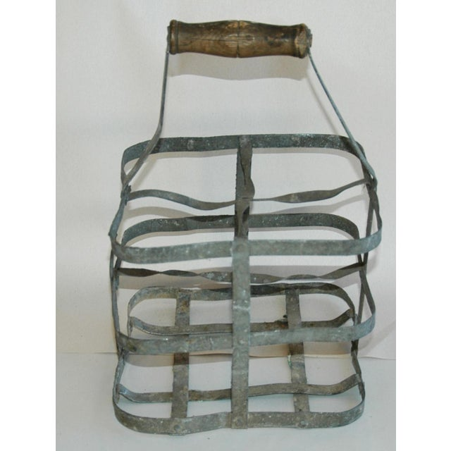 1930s 1930s French Gray Porte Bouteille Zinc 4-Bottle Wine Carrier For Sale - Image 5 of 8