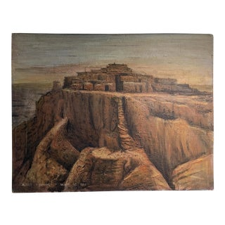 1955 Alfred Ahronian Arizona Cliff Dwellings Painting For Sale