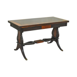 Berkley Shops Regency Style 1940s Custom Mahogany & Rosewood Console Games Table