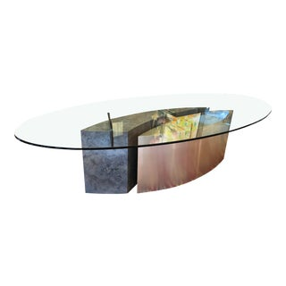 Custom Oval Glass & Steel Dining Table