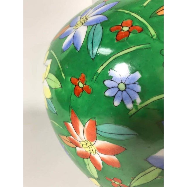 Hand Painted Green Floral Painted Vase Dimensions (in): 11.0 W x 11.0 D x 11.0 H.