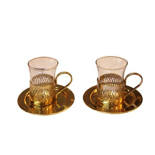 Small Gold Cordial Glasses with Saucers - A Pair For Sale
