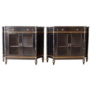 Pair of Ebonized Regency Style Credenzas For Sale