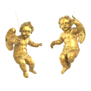 18th Century Italian Rococo Style Winged Life Size Hanging Cupids - a Pair For Sale