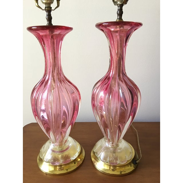 Mid-Century Baovier E. Toro Murano Glass Lamps - A Pair - Image 4 of 11