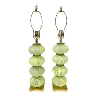 Mid Century Modern Green Italian Murano Glass Ball Lamps - a Pair For Sale