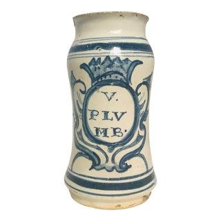 17th Century Italian Majolica Albarello Apothecary Jar For Sale