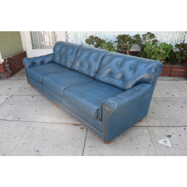 Teal Leather Sofa - Image 6 of 11