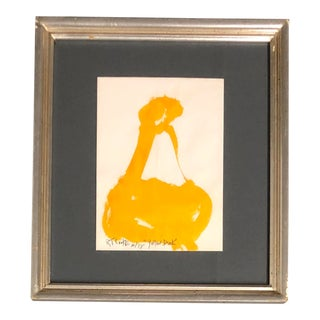 Original Vintage Robert Cooke Yellow Duck Painting 1970's Mid Century Modern For Sale