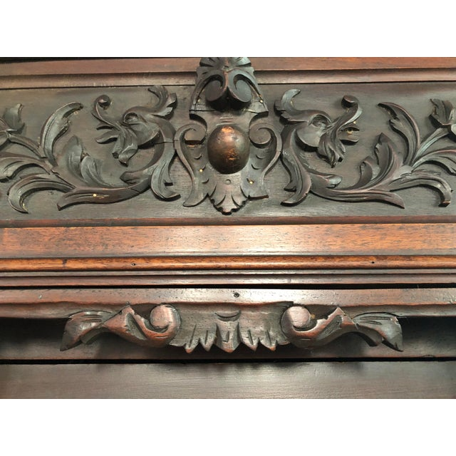 1800s Carved Antique Library Hutch For Sale - Image 9 of 11