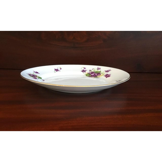 1950s 1950s Violet Floral Bone China Luncheon Plates - Set of 9 For Sale - Image 5 of 13