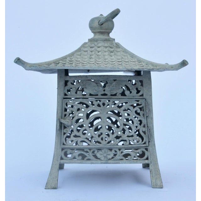 1900s Gumps Japanese Iron Verdigris Pagoda Lantern For Sale - Image 5 of 5