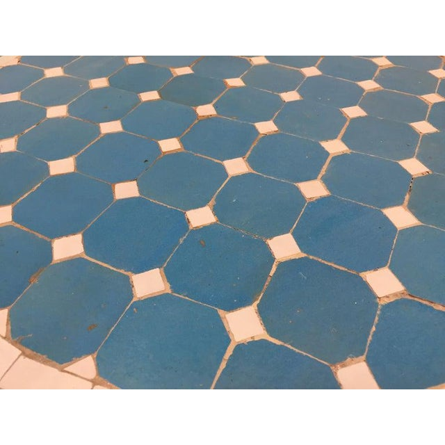 Moroccan Mosaic Blue Tile Bistro Table For Sale In Los Angeles - Image 6 of 13