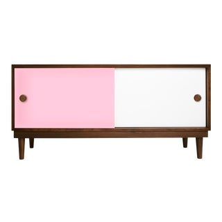 Lukka Modern Kids Credenza Console in Walnut With Pink Finish For Sale