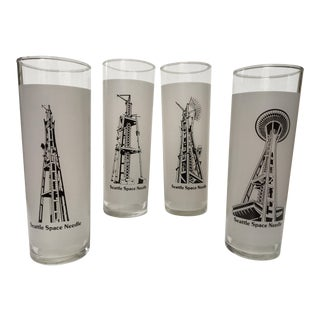 Mid-Century Modern ''Building of the Seattle Space Needle'' Glasses - Set of 4 For Sale