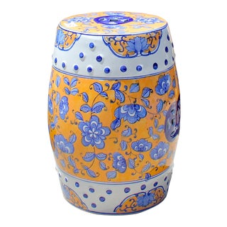 White Porcelain Yellow Blue Flower Butterflies Round Stool Ottoman For Sale