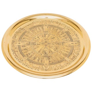 1920s Egyptian Revival Round Brass Tray With Hieroglyphics For Sale