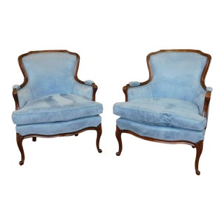 1960s French Provincial Louis XV Style Blue Upholstered Living Room Chairs - A Pair