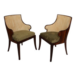 Pair of French Art Deco Rosewood Barrel Back Tub Arm Chairs After Gilbert Rohde For Sale