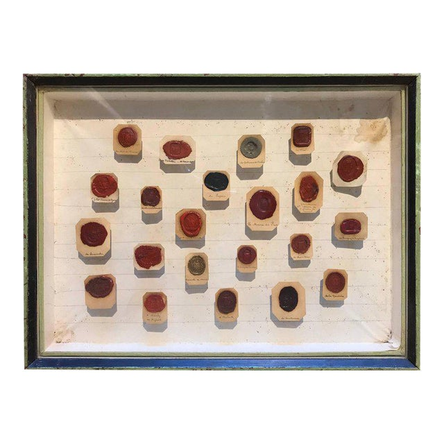 Framed 18th Century French Wax Seals For Sale