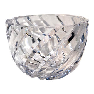 Mikasa Whirlwind Crystal Bowl / Flower Vase Candy Dish Thick Brilliant Clear For Sale