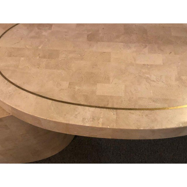 Bone 1980s Hollywood Regency Tessellated Bone Swivel Expanding Coffee Table For Sale - Image 7 of 9